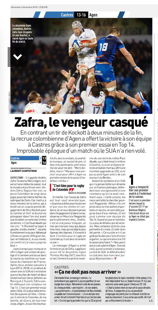Article L Equipe Andres Zafra